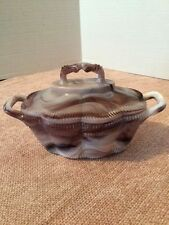 """IMPERIAL #456 PURPLE SLAG 2 HANDLES """"CLOTHES BASKET"""" COVERED DISH"""
