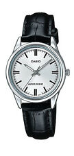Casio LTP-V005L-7A Women's Standard Analog Black Leather Band Silver Dial Watch