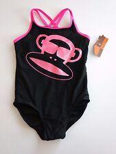 NWT Paul Frank Toddler Girl's 3T Black 1 Pc Swimsuit Pink Julius Monkey Swim