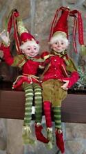 "Set 2 NWT 15"" RAZ Santa ELF Elves  Figure CHRISTMAS Shelf Sitter Display Prop"