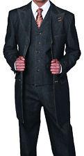 NWT Men's 100% Cotton Denim 3 Piece Suit with Double Contrast Stitching 5285V
