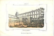 1863 SEGOVIA Veduta degli acquedotti litografia Pagnoni acueducto Castilla León