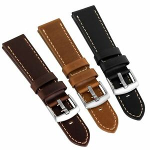 Geckota® Old Chester Vintage Style Genuine Leather Watch Strap, 20mm & 22mm