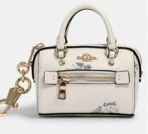 Authentic COACH Mini Rowan Satchel Bag Charm Key Fob Dandelion Print BNWT 1715