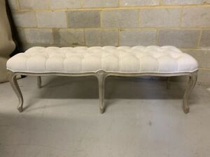 Stunning Six Legged Ivory Linen Upholstered Chesterfield Bench/ Window Seat