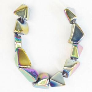 11Pcs/Set Rainbow Titanium Crystal Polygon Pendant Bead D70445