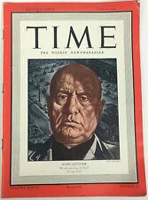 "Time Magazine June 9, 1941 Benito Mussolini Cover ""Aging Dictator"" World War 2"
