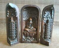 chinese old boxwood handmade Buddhism bodhidharma pagoda statue figure box gift