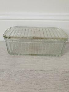 *Vintage* Large Heavy Depression Glass Rectangular Ribbed Butter Dish + Lid