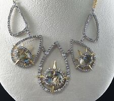 ALEXIS BITTAR ELEMENTS LABRADORITE & SWAROVSKI CRYSTAL TEARDROP NECKLACE, NWOT