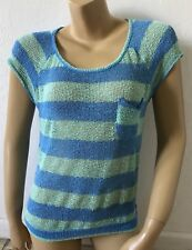 ROXY Womens Size Small Short Sleeve Sheer Mesh Striped Top Shirt Blouse
