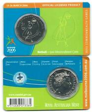 """2006 50 CENT MELBOURNE COMMONWEALTH GAMES IN CARD """"NETBALL"""" COIN:UNC"""