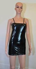 Wet LOOK Black Dress Mini Vinyl Club Wear Size 8 to 10 Drive EM Crazy