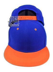 Youth Kids Flat Bill Snapback Hat Two Tone Plain Baseball Cap Boy's & Girl's NEW