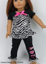 "Zebra Heart Ruffle TOP PANTS Doll Clothes fits 18"" American Girl 2pc"