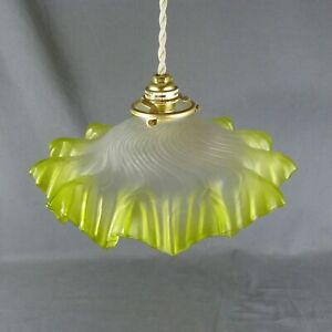 Vintage French Green Ruffled Glass Ceiling Shade, w/Hardware, Ø 11""