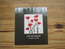 1st class stamp Poppies on Barbed wire stems Battle of  the Somme WWI 1916-2006