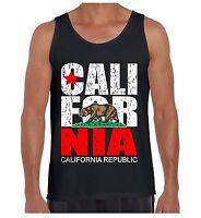 Cali For Nia Vintage  Men's Tank Top California Republic Flag Retro Bear TankTOP