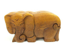 Wood Puzzle Box Elephant Hand Carved Decorative Wooden Jewelry Trinket Box