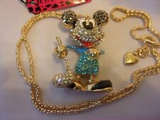 """BETSEY JOHNSON BLUE MICKEY MOUSE PLAYING GOLF PENDANT 24"""" NECKLACE"""