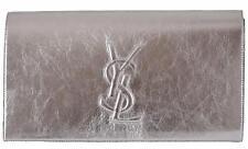 New Saint Laurent YSL 361120 SILVER Leather Large Belle de Jour Clutch Handbag