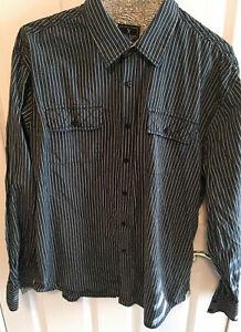 Men's Size 2xl Long Sleeve Shirt, by Marc Ecko, Green, Gray, Black, Stripes