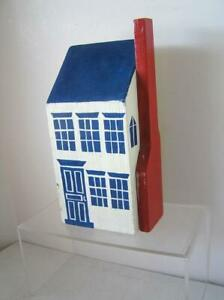 Large Heavy Folk ART Primtive handmade Block Wood House handpainted Door Stop