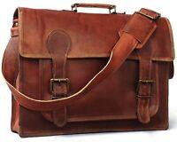 Men's Genuine Natural Leather Shoulder Messenger Bag Vintage Satchel Briefcase