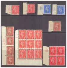GB GVI Control/Plate blocks/singles (8 pieces) MM/MH (2½d) & UM/MNH (others)