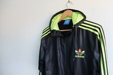Rare Adidas Chile '62 hooded tracksuit Jacket | Black Neon Yellow S Wet look