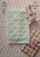 Knitting pattern BABY trama COT & carrozzina coperte DK KING COLE 3506