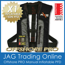 "AXIS OFFSHORE ""PRO"" BLACK INFLATABLE PFD1 MANUAL LIFEJACKET 150N Life Jacket"