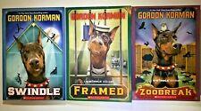Swindle (1), Framed (2), Zoobreak (3) (Swindle Series) by Gordon Korman (PB) NEW