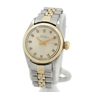 ROLEX OYSTER PERPETUAL 6619 TWO TONE 18K GOLD BAR DIAL LADIES WRISTWATCH W2111-5