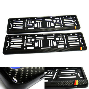 2x Real Carbon Fibre Euro Licence Number Plate Surround Holder Frame For Germany
