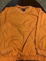FootJoy FJ Orange V Neck Windbreaker Pullover Golf Jacket Mens Extra Large XL