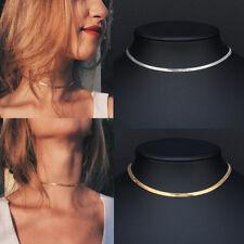 Chic Flat Snake Bone Herringbone Chain Necklace Choker Gold Silver Jewelry