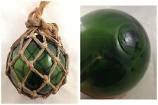 Antique Nautical Hand Blown Fishing Buoy Float Net Green Glass Seal Button 2Mark