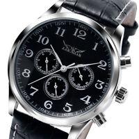 JARAGAR Sport Day Date Automatic Mechanical Wrist Watch Men Luxury Leather Strap