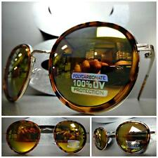 Mens Women VINTAGE 60's RETRO Style SUNGLASSES Tortoise & Gold Frame Mirror Lens