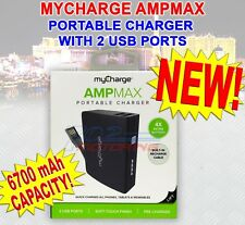 MYCHARGE AMPMAX 6700mAh PORTABLE CHARGER 2 USB PORTS - USB CABLE FOR RECHARGING