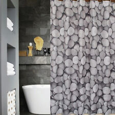 QUICKFIT SHOWER CURTAIN + 12 DECORATIVE HOOKS |  WHITE + GREY MODERN PRINT STONE