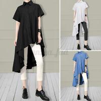 Women Short Sleeve Holiday Plain Shirt Asymmetric Tops Long Blouse Tunic Loose