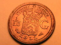 1911 Netherlands INDIES 1/10 Gulden Ch AU/BU Superb Toned Indonesia Silver Coin