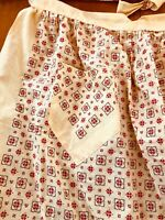 Hand Made Vintage Yellow Half Waist APRON Brown Pocket Tie Red Flowered Pattern