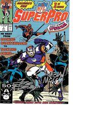 NFL SuperPro #1 signed x2 Fabian Nicieza & Jose Delbo FOOTBALL SUPERHERO NM