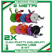 2X Cavi (Cavetto) Dati 2 Metri PIATTI NOODLE MICRO USB SAMSUNG NEXUS LG HTC