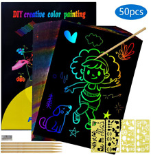Birthday Gift for 4-8 Year Old Girls Kids, Scratch Art Set Toys Gifts for 5-10 4