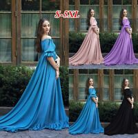Womens Medieval Long Dress Short Sleeves Off Shoulder Cosplay Costume Maxi Dress