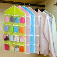 16Pockets Clear Hanging Bag Socks Bra Underwear Rack Hanger Storage Organizer NE